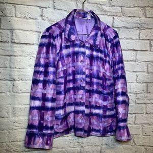 Susan graver 1X purple pattern blazer 2515